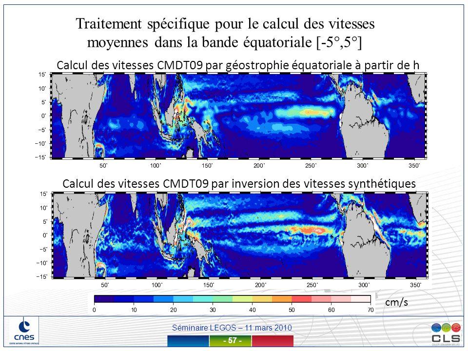 Traitement spécifique pour le calcul des vitesses moyennes dans la bande équatoriale [-5°,5°]